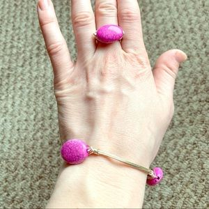 Pink stone wire wrap ring and bracelet set